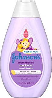 Johnson`s Strengthening Tear-Free Kids` Conditioner with Vitamin E Strengthens & Helps Prevent Breakage, Paraben-, Sulfate- & Dye-Free, Hypoallergenic & Gentle on Toddler Hair, 13.6 fl. oz