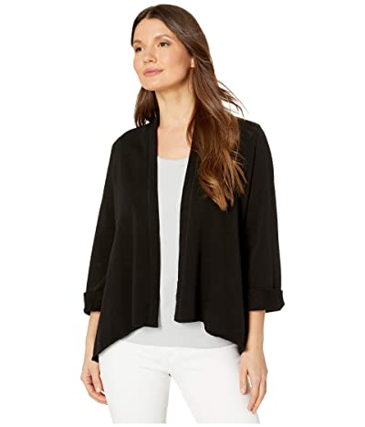 Lilla P French Terry Open Cardigan (Black) Women