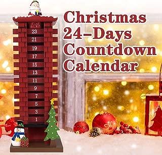 ALLADINBOX Santa Claus Wooden Calendar Countdown 24 Days Christmas Decoration Gifts