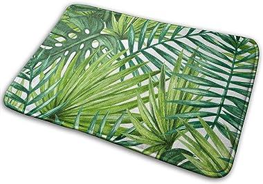 Green Tropical Palm Leaves Home Door Mat Super Absorbent Slide-Proof Front Floor Mat,Soft Coral Memory Foam Carpet Bathroom R