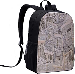 Antique Decor Multi Function Backpack,Newspaper Pages with Advertising and Fashion Magazine for Woman Edwardian Publicity Image for Office,12