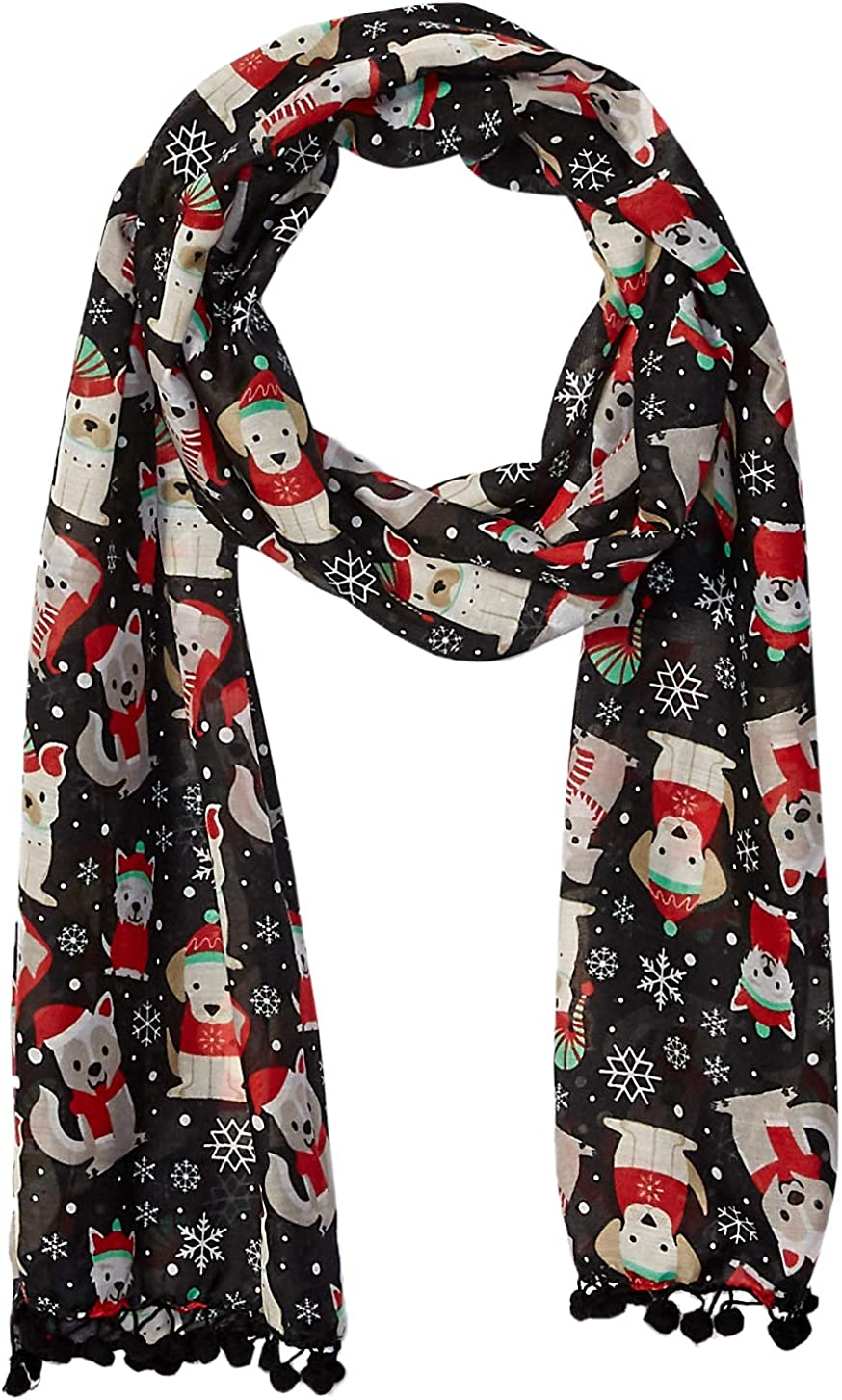 Steve Madden Women's Holiday Scarf, Black, One Size