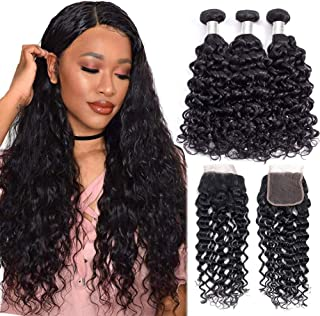 Alibeauty Brazilian Water Wave Bundles with Closure 9A Unprocessed Virgin Human Hair Weave 3 Bundles with Closure Natural Black Remy Hair Extensions(20 22 24+18 Inch)
