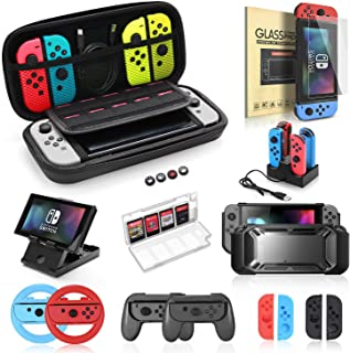 Accessories Bundle for Nintendo Switch, Kit with Carrying Case,Protective Case with Screen Protector,Compact Playstand,Gam...