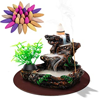 DK177 Waterfall Backflow Incense Burner Cone Insence Stick Holder Reverse Resin Mountain River Incent Censer Smoke Fountai...