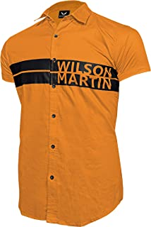 WILSON MARTIN Men's Casual Designer Printed Half Sleeve FIRE Yellow Cotton Shirt for Men