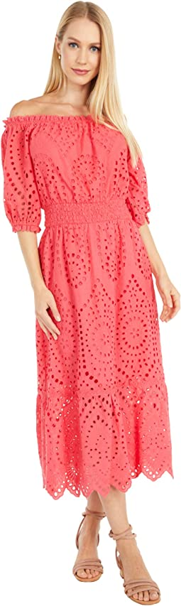 Eve - Cotton Eyelet Off-the-Shoulder Midi Dress with Smocked Waist