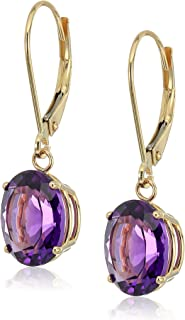 14K Gold Oval Created or Genuine Gemstone Dangle Leverback Earrings