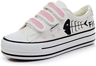 Hook Loop Thick Bottom Women Canvas Shoes Flat Hand-Painted Shoes Platform Shoes