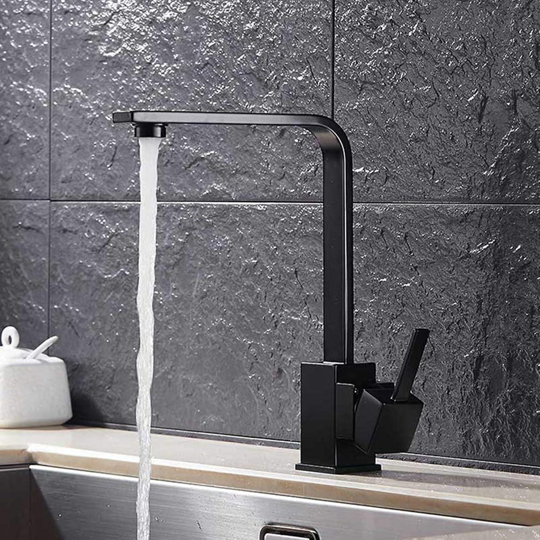 FZHLR Brass Kitchen Sink Faucet 360 Degree Swivel Black Chrome Kitchen Tap Black Square Kitchen Mixer Tap Torneira,Black