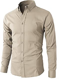 Mens Casual Slim Fit Dress Shirts Button Down Business Shirts Spandex Fabric
