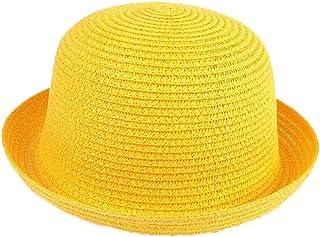 Elee Children Kids Vintage Straw Roll up Brim Bowler Hat Cloche Cap Dome Sunhat