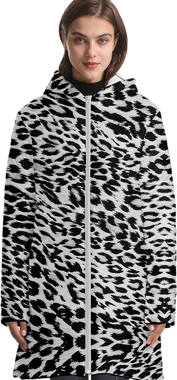 URVIP Unisex Oversized Animal Fur Texture Printed Long Hooded Down Jacket