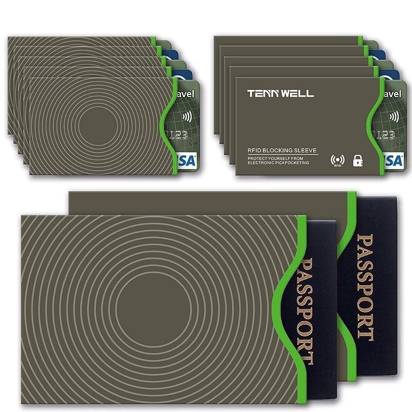 接ぎ木複合雑多なTenn Well RFIDスリーブ スキミング防止カードケース 10枚カード 2枚パスポートスリーブ入れ (グレー)