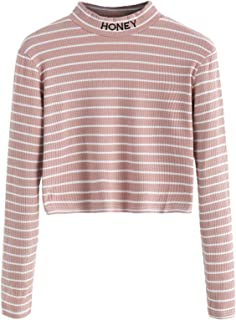 Women's Mock Neck Embroidered Letter Long Sleeve Striped Crop Top T Shirt