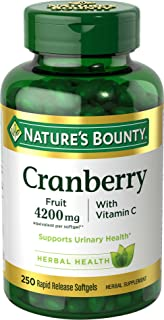 Cranberry Pills w/ Vitamin C by Nature's Bounty, Supports Urinary & Immune Health, 4200mg Cranberry Supplement, 250 Softgels (4363)