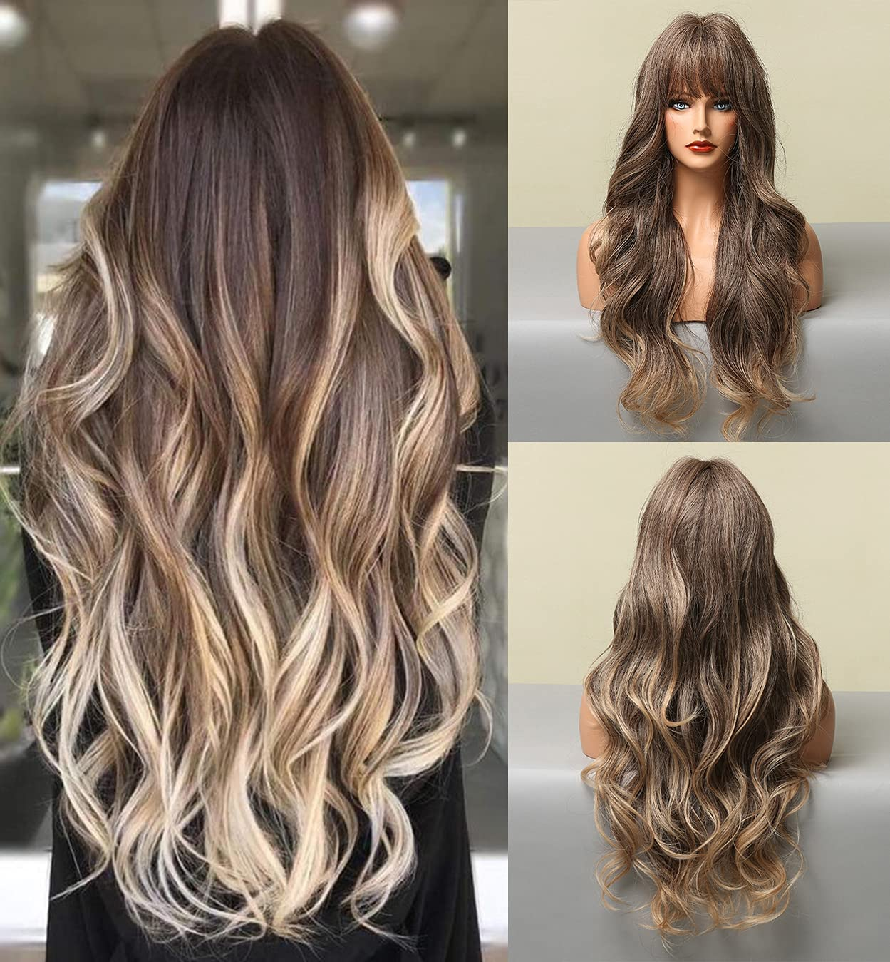 LEMEIZ Ombre Ash Brown Wig with Bangs, Mixed Blonde wig with Bangs, Long Wavy Wigs for Women, Realistic Looking Synthetic Hair Wig 22 inch LANOVA-168