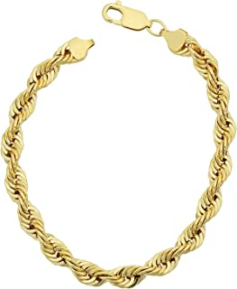 14K Yellow Gold Filled Solid Rope Chain Bracelet, 6.0mm, 8.5
