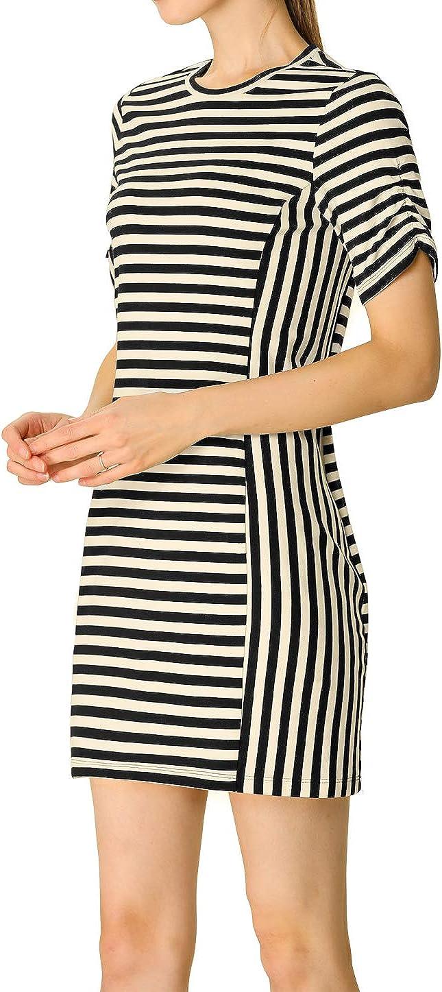 Allegra K Women's Cotton Summer Casual Short Sleeve Crew Neck Shift Striped T-Shirt Mini Dress
