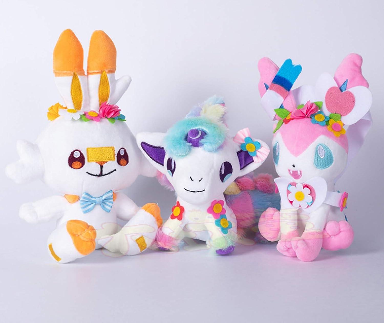3Pcs Set Pokemon Halloween Scorbunny New item Pokemones Sylveon overseas Pl Ponyta