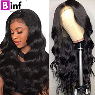 BINF Hair 14 inch Body Wave Human Hair Lace Front Wigs with Baby Hair Pre-Plucked Natural Hairline Glueless Brazilian Body Wave 13X4 Lace Frontal Wigs for Black Women 150% Density Natural Color