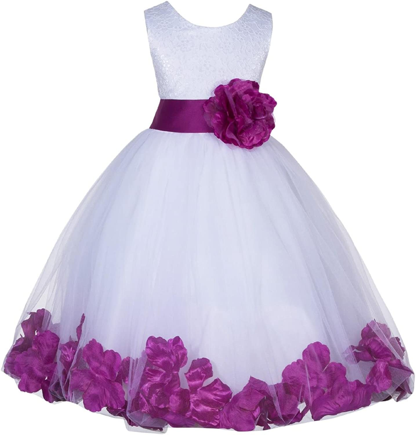White Lace Top Tulle Floral Petals Flower Girl Dress Junior Pageant Gown 165T