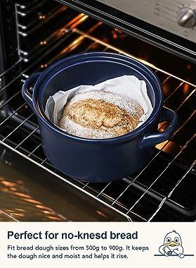 LE TAUCI 3 Quart Dutch Oven Pot with Lid, for No Knead Bread, Sourdough Loaves, Bread Clothe Baker, Ceramic Casserole Dish, S