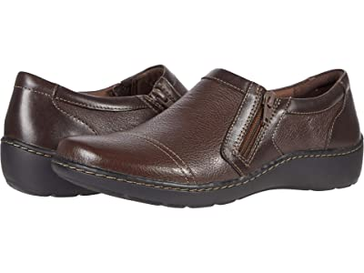 Clarks Cora Giny (Dark Brown Tumbled/Smooth Leather) Women