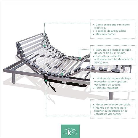 Dreaming Kamahaus Cama Articulada 5 Planos | Motor con Mando por Cable |150 x 190cm | 2 Motores|