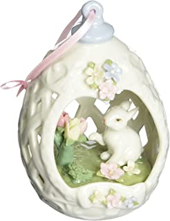 Cosmos 80110 Fine Porcelain Egg Shape Ornament with Bunny Design Figurine, 4-1/4-Inch