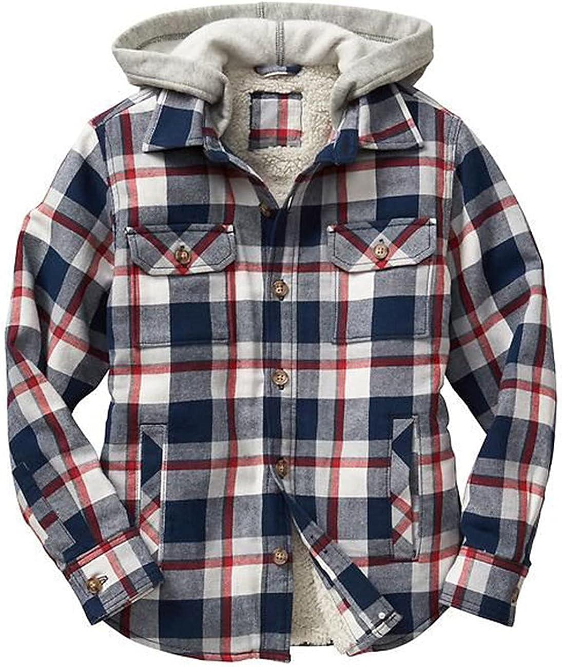 Men's Hooded Long Sleeve Thick Fleece Fake 2pcs Plaids Design Casual Fashion Outwear Jackets