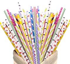200Pack Biodegradable Paper Straws,10 Different Pattern Cute Cool Juices, Shakes, , Cake Pops, iced coffee,Party Supplies ...