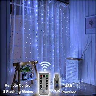 Pooqla Curtain Lights, Window Icicle String Lights, 300 LED with 8 Lighting Modes, String Fairy Lights, Remote Timer Control 9.8 x 9.8 ft for New Year Christmas Holiday Home Decor - White