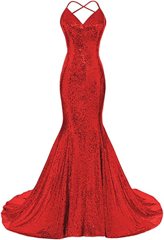 LEJY Women's Sequin Mermaid Long Prom Dress Spaghetti Straps V Neck Backless Sexy Evening Dress