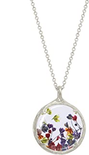 Catherine Weitzman Botanical Pendant Necklace with Delicate Dried Flowers in Glass Charm