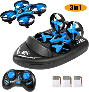 Mini Drone for Kids Adults - JJRC Upgraded Model H36F 3 in 1 RTF RC Quadcopter Boat Sea-Land-Air 2.4G 6-Axis Gyro Helicopter with Headless Mode 3D Flips One Key Return Drone for Beginners 3 Batteries