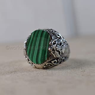 eagle design ring, heavy ring, natural malachite ring, man's ring, oxidized arabic ring, heavy biker ring, solid 925 sterling silver jewelry, statement ring, handmade ring, anniversary gift jewelry
