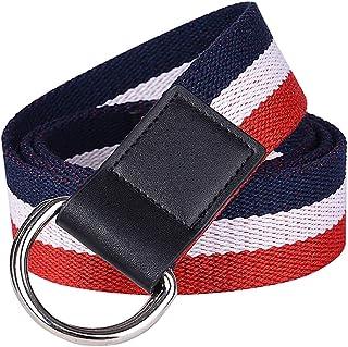 YAOLUU Cinturón de Lona Rayas de Color para Hombre Cinturón Juvenil para Mujer Moda Anillo Doble Cinturón de Malla L115CM...