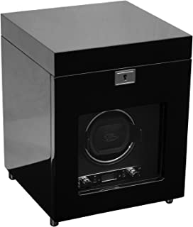 WOLF 454570 Savoy Single Watch Winder with Cover and Storage, Black