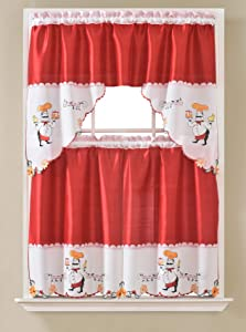 Gentle Home 3pc Kitchen Curtain and Valance Set/1 Swag Valance and 2 Tiers,2 Tiers Width 30