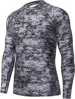 ADOREISM Men's Splice Compression Long Sleeve Rash Guard Surf Swim Shirt UV Sun Protection UPF 50+