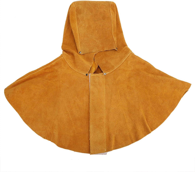 Capucha para soldador, Casco para soldar, Capucha para soldador Piel de vaca amarilla Aislamiento térmico Cuello Protección facial Casco para soldar Máscara de seguridad