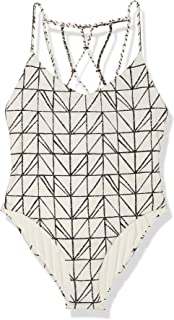 Dolce Vita Women's Rough & Tumble Abstract Geometric Lattice Beaded Back One Piece Swimsuit, Cream, M