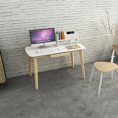 Réglable Table d'ordinateur de Bureau en Bois Massif Table d'ordinateur de Bureau en Bois Massif Table d'écriture Simple avec tiroir en Option Peut être tourné (Taille   120cm)