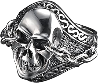 8bf8dcbb511d71 Unkaged Sterling Silver Skull Ring With Chained Eyes - Scott Kay Mens  Jewelry