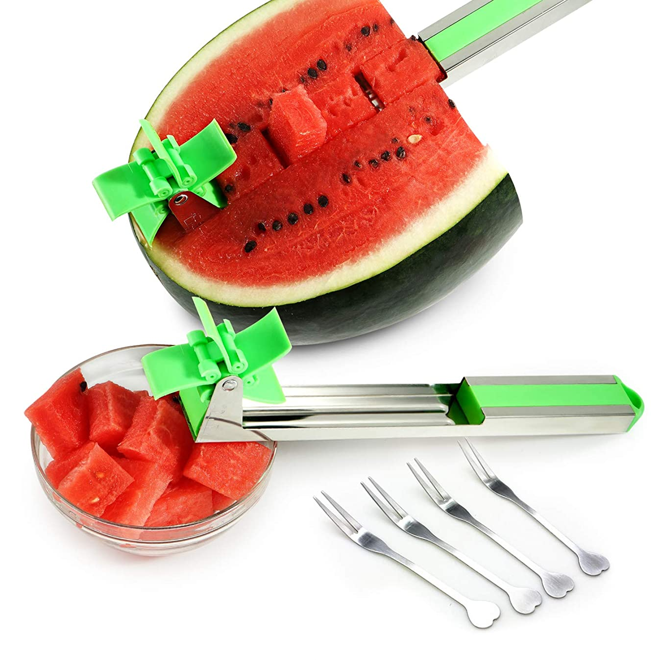 Watermelon Slicer Watermelon Windmill Cutter 2019 New Watermelon Slicer Knife Stainless Steel Fruit Tools Kitchen Gadgets?with 4 Pack Fruit forks