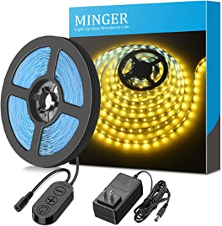Dimmable LED Light Strip, MINGER 3500K Warm White 16.4ft Flexible Strip Lights Kit 300 Units 2835 LEDs for Room Bedroom Kitchen Cupboard Bar, Non-Waterproof Tape Light with UL Listed Power Supply