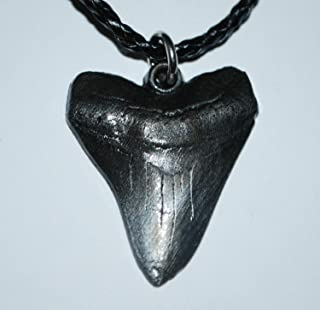 Megalodon Tooth Necklace (Metal Replica) Giant Fossil Shark #167 2o
