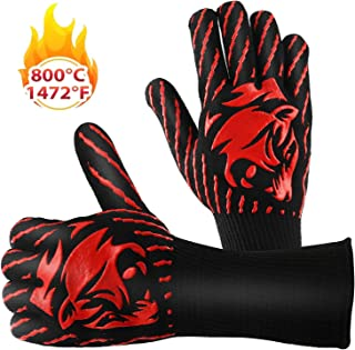 BBQ Gloves Smoker Griller Gloves 1472? Extreme Heat Resistant Potholders Food-Grade Kitchen Oven Mitts for Barbecue, Cooking, Baking, Cutting, Welding, Silicone Non-Slip Cooking Gloves