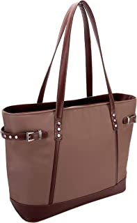 McKlein, N Series, ARIA, Nano Tech-Light Nylon with Leather Trim, Nylon Ladies' Tote Off-White Khaki One Size